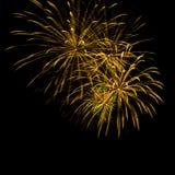 Golden fireworks on the black sky Stock Photo
