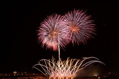 Golden fireworks explosion in dark dirty background close up with the place for text, Malta fireworks festival, 4 of July, explode Royalty Free Stock Photography