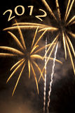 Golden fireworks for New Year 2012 Royalty Free Stock Images