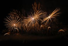 Golden fireworks. On the night sky Royalty Free Stock Photography