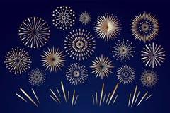 Free Golden Fireworks On Night Sky. Celebration Fire Firework, Christmas Pyrotechnics Firecracker For Winter Party Festival Birthday Royalty Free Stock Image - 155799256