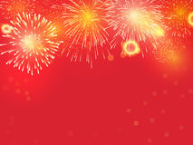 Golden Fireworks on red background. To celebrate on chinese new year royalty free illustration