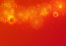 Golden Fireworks on red background. To celebrate on chinese new year Royalty Free Stock Images