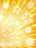 Golden fireworks from snowflakes Stock Images