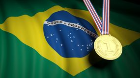 Golden first place medal on waving Brazil flag Stock Images