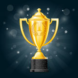 Golden first place win cup with laurels - award. Golden cup with laurels - first place award Royalty Free Stock Images