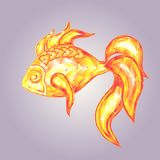Golden fish. Crystal emblem of golden fish – symbol of luck Stock Photos