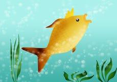 Golden Fish. Fabulous golden fish in blue transparent water Royalty Free Stock Photos
