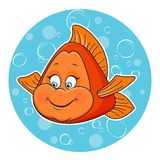 Golden fish. Illustration of fun Golden fish in the water Stock Photo