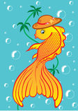 Golden fish. The vector. Goldfish in the head on schematic background Royalty Free Stock Photo