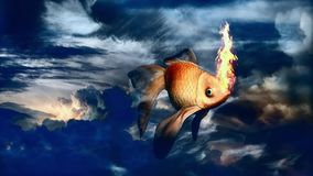 Golden fish in blue sky