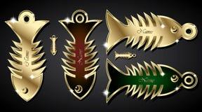 Golden Fish Bone Pendant Royalty Free Stock Photos