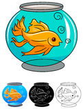 A golden fish in a bowl. Against white background illustrated image Stock Images