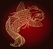 Goldfish catfish beautiful idea of Japanese tattoo. Golden fish catfish on a red gradient background. Detailed sketch of tattoo Stock Images