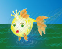 Golden fish caught in a net. Golden fish in the sea caught in a net Royalty Free Stock Photo
