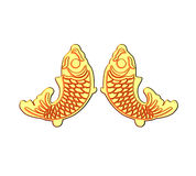 Golden fish. 3d golden china fish ornament vector illustration