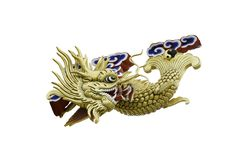 Golden fish dragon Stock Photo