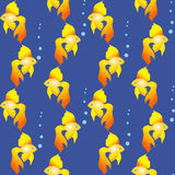 Golden fish from the fairy tales and legends, seamless pattern. With gold-fish on blue sea background Stock Image