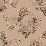 Golden fish, hand painted drawing of outline. Isolated on brown background Royalty Free Stock Photography