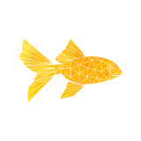 Golden Fish icon. Golden Fish from polygons. Geometry yellow vector Stock Photo
