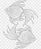 Golden fish. Pisces. Adult antistress coloring page Stock Photography