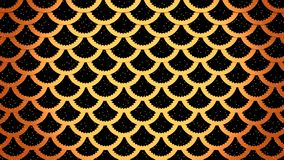 Golden fish scales on black cells pattern marine background 3D illustration royalty free illustration