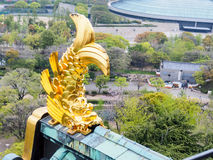 Golden fish sculpture at Osaka castle, Osaka Japan 2. Golden fish sculpture at the roof top of Osaka castle, Osaka, Japan Royalty Free Stock Photo