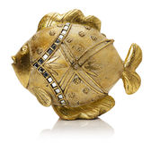 Golden fish sculpture  on the white background Royalty Free Stock Images