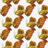 Golden fish. Seamless background pattern. Hand drawn  stock illustration Stock Photos