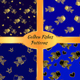 Golden fish seamless pattern Royalty Free Stock Photo