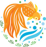 A golden fish swimming in the pond. With leaf and water bubble royalty free illustration