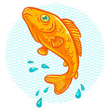 Golden fish. Vector illustration of a golden fish jumping out of water Stock Images