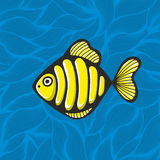 Golden fish on the waves background. Royalty Free Stock Photography