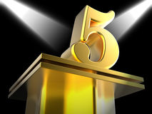 Golden Five On Pedestal Shows Shiny Trophy Or Royalty Free Stock Image