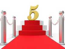Golden Five On Red Carpet Means Movie Industry Stock Photo