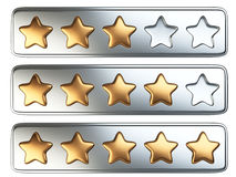 Golden five star rating system. Royalty Free Stock Images