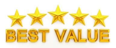 Five stars, Best Value - 3d rendering. Golden Five stars, Best Value - 3d rendering Royalty Free Stock Photography