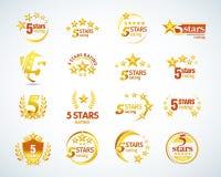 Golden Five stars logo template set. 5 star rating emblems set. Isolated Vector illustration. Golden Five stars logo template set. 5 star rating emblems set vector illustration