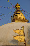The golden flag is located at the Swayambhunath Temple Royalty Free Stock Image