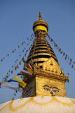 The golden flag is located at the Swayambhunath Temple Royalty Free Stock Photography