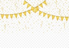 Golden Flags with Confetti background vector. Golden Flags with Confetti And gold Ribbons on transparent background, Festive Illustration of Falling Shiny Royalty Free Stock Photography
