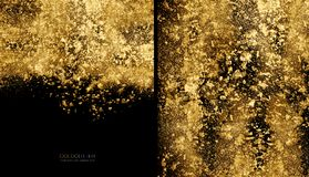 Golden flakes background concept. Scattered gold glitter powder on black. Gold flakes or golden dust on black background - abstract background concept with copy royalty free stock images