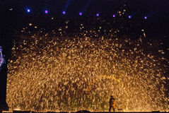 Golden Flame. Fire  is the Hebei province Zhangjiakou Weixian County warm springs of the distinctive ancient festival of fire, has been more than 300 years of Stock Photos