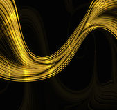 Golden Flame Wave. Abstract design of a golden amber colored flame wave on a black background royalty free illustration