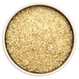 Golden flax meal in a round bowl Stock Photo