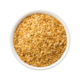Golden Flax Seed in a Ceramic Bowl Royalty Free Stock Images
