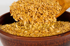 Golden flax seed. Super food Royalty Free Stock Photography