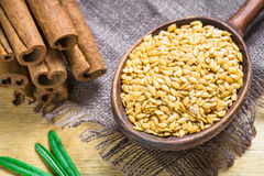 Golden flax seeds or linseeds Royalty Free Stock Images