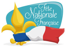 Golden Fleur-de-Lis with France's Flag and Sign for French National Day, Vector Illustration Royalty Free Stock Images