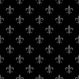 Golden fleur-de-lis seamless pattern. Black white template. Floral classic texture. Elegant decoration, royal lily retro backgroun Royalty Free Stock Photos